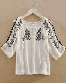 Open Shoulder Triba Embroidered White Top