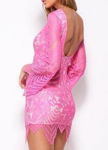 Bell Sleeve Open Back Lace Asymmetrical Pink Dress