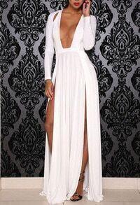 Deep Plunge Neck Split Maxi Dress