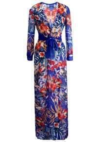 Deep V Neck Florals Split Dress