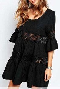 Black Vintage Lace Crochet Hollow Dress