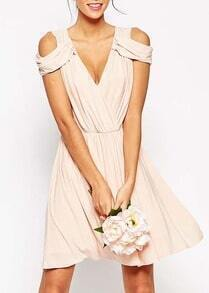 Apricot Drape Cold Shoulder Dress