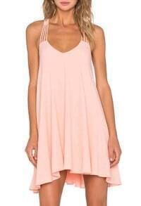 Pink Spaghetti Strap Hollow Trapeze Dress