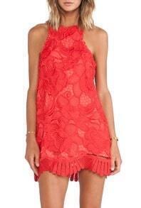 Red Halter Back Zipper Lace Dress