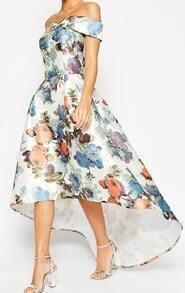 Off The Shoulder Florals High Low Dress