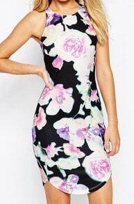 Back Zipper Florals Bodycon Dress
