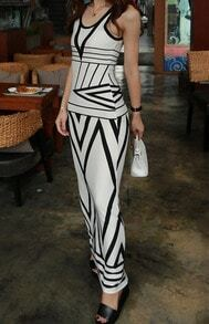 Sleeveless Geometric Print Maxi Dress