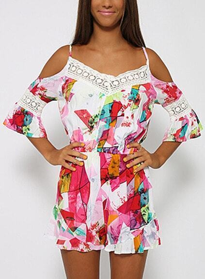 Contrast Lace Off The Shoulder Florals Romper pictures