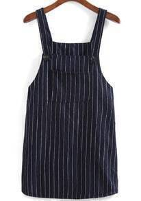 Strap With Pocket Vertical Striped Dress