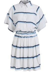 Lapel Striped Pleated Shirt Dress