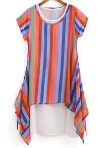Short Sleeve Vertical Striped Shift Dress