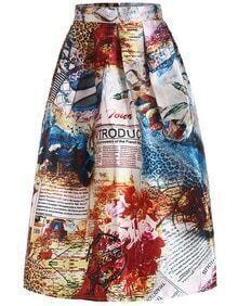 With Zipper Flower Letter Print Skirt