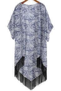 With Tassel Paisley Print Chiffon Kimono