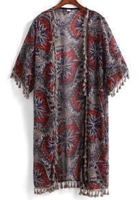 With Tassel Flower Print Chiffon Orange Kimono