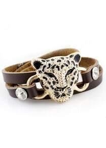 Gold Leopard Brown Multilayer Leather Bracelet