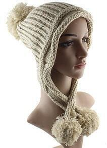 White Twisted Ball Knit Hat