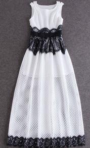 Sleeveless Contrast Lace Mesh Maxi Dress