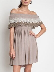 Coffee Off The Shoulder Ruffle With Lace Dress