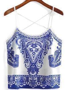 Spaghetti Strap Blue And White Porcelain Print Cami Top