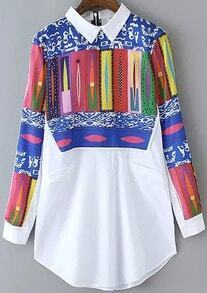 Multicolor Lapel Geometric Print Pockets Blouse