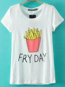 White Short Sleeve French Fries Print T-Shirt