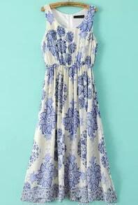 Apricot Sleeveless Floral Chiffon Maxi Dress