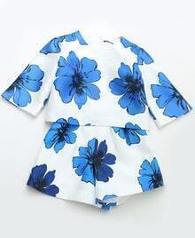White Round Neck Floral Crop Top With Shorts