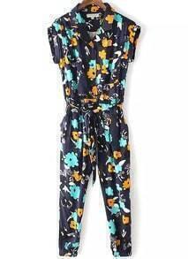 Navy Lapel Tie-waist Floral Slim Jumpsuit