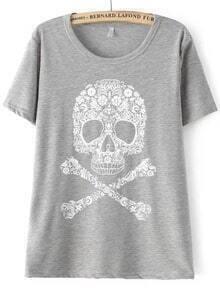 Grey Short Sleeve Skull Print Loose T-Shirt