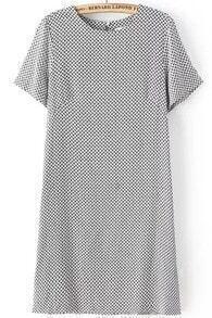 Black White Short Sleeve Bow Print Backless Dress
