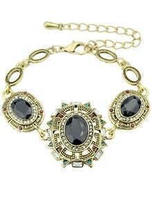 Black Gemstone Gold Link Bracelet