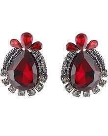 Red Drop Gemstone Silver Stud Earrings