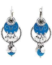 Blue Glaze Silver Bead Tassel Earrings