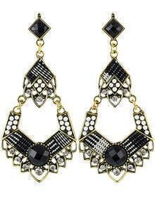 Black Bead Gold Earrings