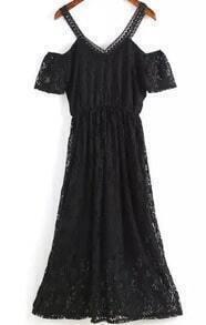 Off The Shoulder Lace Black Dress