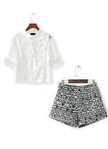 Stand Collar Hollow Top With Geometric Print Shorts