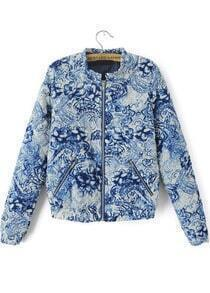 With Zipper Blue And White Porcelain Print Coat