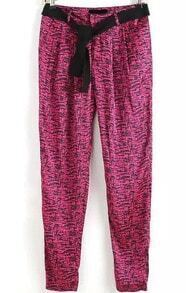 With Belt Speckled Print Pant