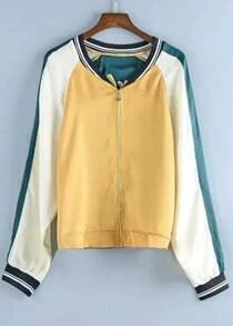 With Zipper Color-block Embroidered Jacket