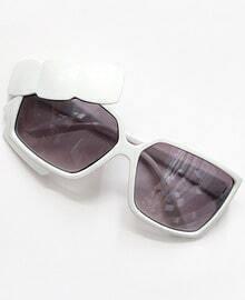 White Rim Bow Embellished Sunglasses