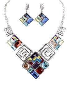 Multicolor Gemstone Silver Hollow Necklace With Earrings