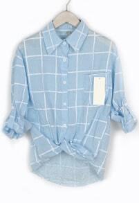 Lapel With Pocket Plaid Blue Blouse