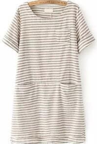 With Pocket Striped High Low Coffee Dress