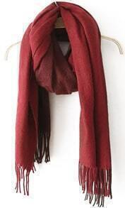 With Tassel Wine Red Scarf