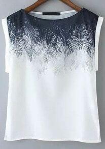 White Short Sleeve Floral Split T-Shirt