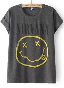 Grey Short Sleeve NIRVANA Face Print T-Shirt
