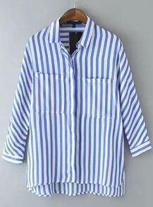 Blusa solapa rayas verticales -azul