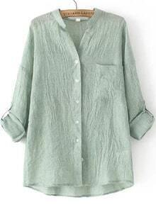 Green Stand Collar Pocket Loose Blouse