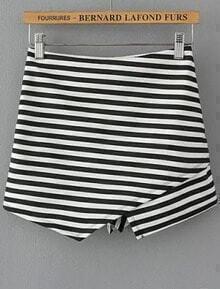 Black White Elastic Waist Striped Shorts