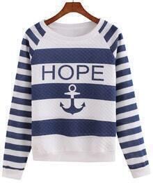 Anchors Print Striped Sweatshirt